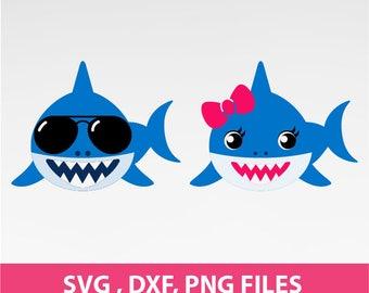 "Shark Svg, Bow Shark SVG, shark with sunglasses Svg, Jaws svg. DXF, PNG Formats,  8.5x11"" sheet,  Printable 162"