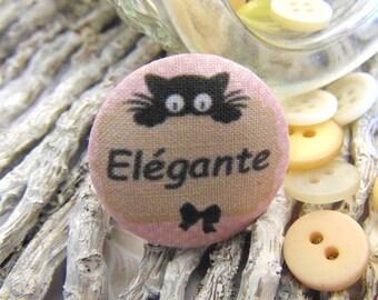 1 button x 38mm ti fabric ' elegant cat BOUT4