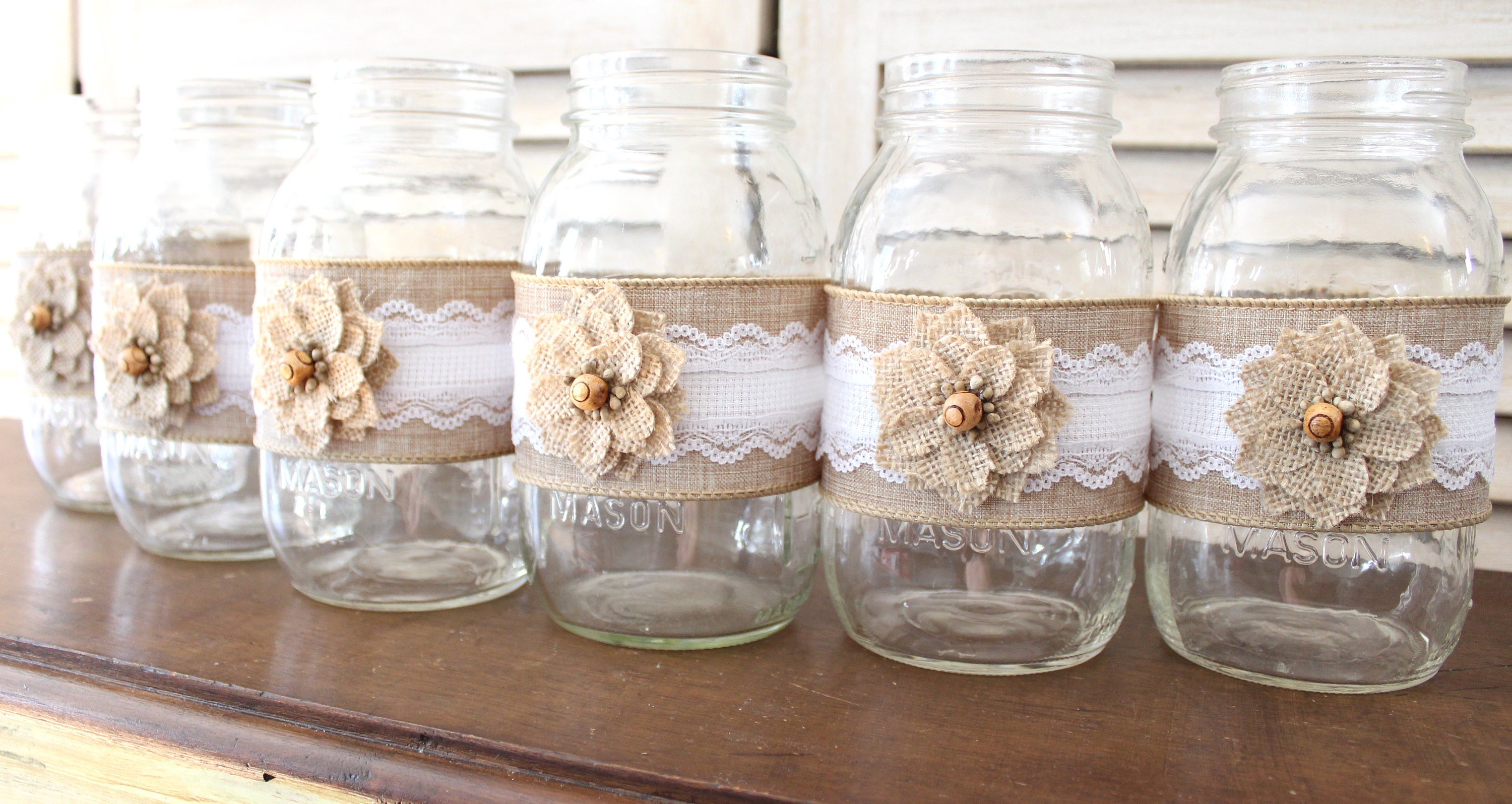 Rustic country wedding mason jar centerpiece wraps backyard 1 junglespirit Gallery