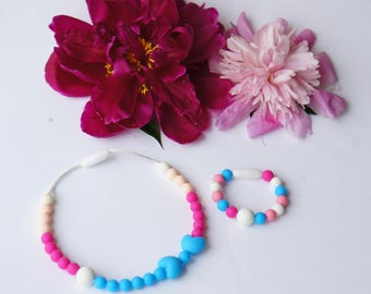 Kids Necklace, Silicone Necklace, Silicone Beads, Teething Necklace, Kids Jewelry, Girls Necklace, Kids Bead Necklace, Child Necklace