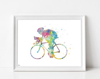 Cyclist poster, bike poster, sport, multicolored illustration, A4, A3, watercolor cycling, birthday gift, wall decor
