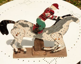 Primitive Horse and rider folk art  whirlygig wind mobile vintage French hand made 1950's curio collectible yard art