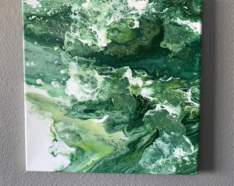 Green Abstract Fluid Acrylic Painting