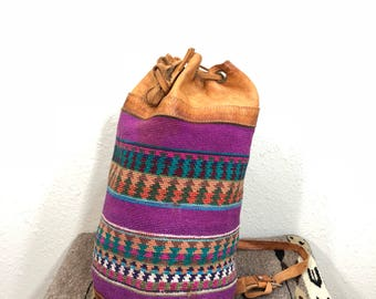 70's vinvage bottom leather navajo patpern backpack day pack