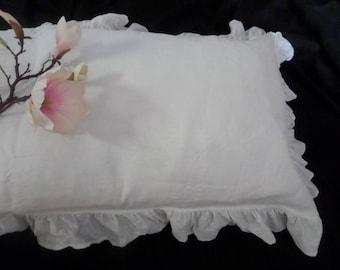 White Ruffle pillowcase ruffled natural bedding linen oatmeal pillow case linen bedding Frill eco Pillow Sham Linen Sham with Ruffles
