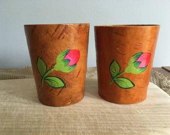 Soviet Vintage Birch Bark Cup, Set of 2.