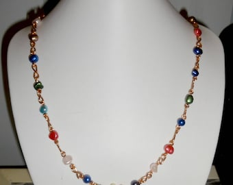 fresh water cultured pearl long necklace &copper links