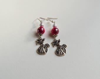 Cute, pair of dangling earrings long cat