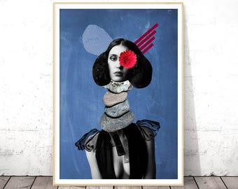 Surrealist, Surreal Art Print, Collage Art, Blue Modern Poster, Digital Download Art, Printable Poster, College Room Art, Dorm Room Decor