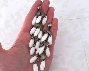 Extra Long Earrings - Beaded Earrings - Dangle Earrings - Drop Earrings - Vintage Earrings - Leaf Earrings - Antique Earrings - 1960s - Gift