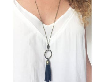 NOJAE ▷ necklace boho pendant ring hammered bronze and maxi black tassel!