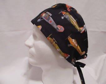 Men's Scrub hat with Vintage Airplanes on black