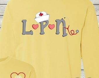 Monogrammed LPN License Practical Nurse Shirt Personalized Customized Nursing
