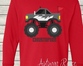 Boys Monster Truck Monogrammed Personalized Customized Birthday Shirt