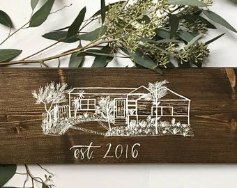CUSTOM House Drawing Wood Sign with Hand-lettered Personalization