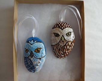 Owl ornament, seashell ornament, painted shell, Christmas, Christmas decor