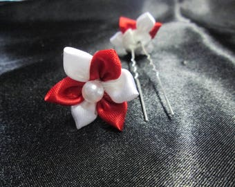 SET of 2 hair pins, hair clip in red and white satin flower