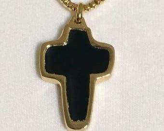 "Vintage black enameled retro cross, gold plated cross with enameled front, 1 1/4"" lg cross with an 18"" box chain"