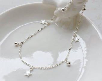 Sterling Silver Anklet Solid Silver Star Anklet. Boho Anklet. Summer Jewellery Festival Jewellery