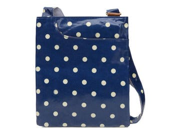 SALE! Oilcloth Crossbody bag- Polka dot bag- Cotton Ladies Purse- Ladies Satchel hangbag - Oilcloth bag - Oil cloth bag - Laminated cotton