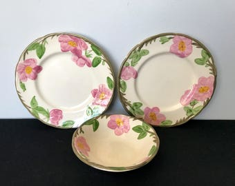 3-Piece Set of Franciscan Desert Rose (England) - 2 Salad Plates and 1 Coupe Cereal Bowl
