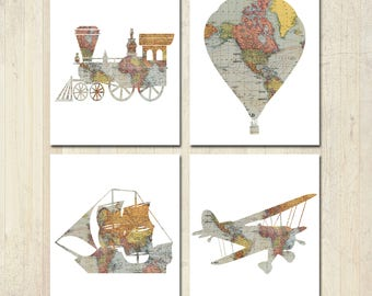 Nursery Decor - Travel Theme Nursery - Baby Shower - Vintage Map Prints - Nursery Wall Art - Hot Air Balloon Nursery - Train Nursery Decor