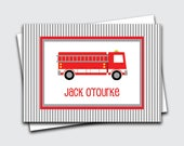 Fire Truck Gift Tags for Kids / Personalized Calling Cards for Boys / Preschool Gift Enclosure Card / Name Cards (Item #1702-032CC)