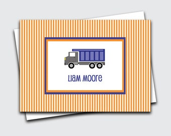 Personalized Kids Notecards / Dump Truck Note Cards for Boys / Transportation Fold Over Notes / Birthday Gift Thank You Notes (#1702-013FO)