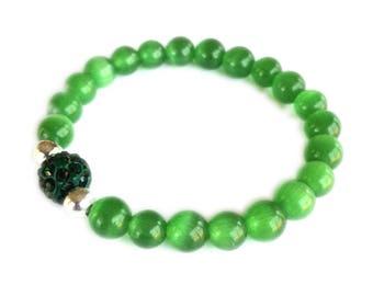 Green Cat's Eye Beaded Bracelet