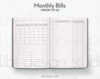 A6 TN, Bill Tracker, Travelers Notebook, Monthly Insert, Midori Inserts, Finance Insert, Monthly Bill Tracker, TN Inserts, Budget Insert