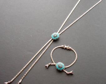 Goldette Southwestern Adjustable Slider Necklace & Bracelet Set faux Turquoise Silver Lariat