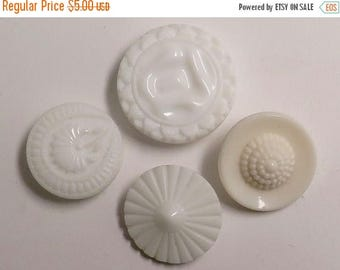 50% OFF - Group of 4 Vintage White Glass Buttons - Various Designs