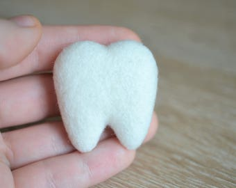 Needle Felted Tooth Brooch - Handmade Cute Gift