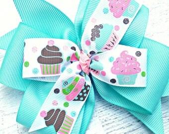 Cupcake Hair Bow, Cupcake Hair Clip, Birthday Party Bow, Cupcakes Hair Bow, Birthday Hair Bow, Birthday Hair Clip, Cupcake Headband