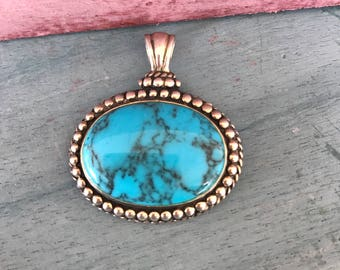 Vintage Turquoise Sterling Silver Boho Chic Pendant, 7g. Stamped 925