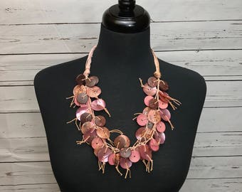 Pink Coconut Shell Necklace. Never worn.