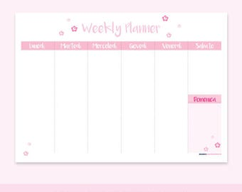Flowers WEEKLY PLANNER PRINTABLE | A4 Pdf, Instant Download