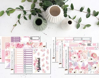 Pink and Pastel Floral || Weekly Planner Kit (175+ Stickers) || Erin Condren, Happy Planner, Recollections || SeattlekangarooPlans