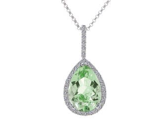 4.04 Carat Pear Shape Green Amethyst Round Diamond Frame Pendant Cable Chain 14K White Gold
