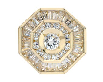 3.00 Carat Round And Baguette Cut CZ Mens Ring 14k Yellow Gold