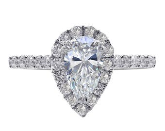 1.36 Carat Pear Shape Diamond Halo Engagement Ring 14K White Gold