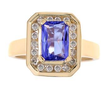 1.15 Carat Emerald Cut Tanzanite & 0.35 Carat Diamond Ring 14K Yellow Gold