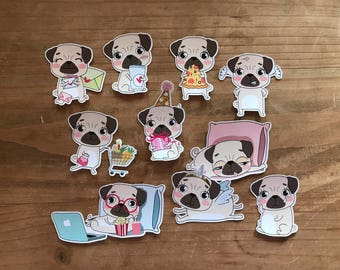 "Cute pug dog die cuts. 3"" cut outs can be laminated or not. Perfect gor decorating a planner, travelers notebook, journal or scrapbook page."