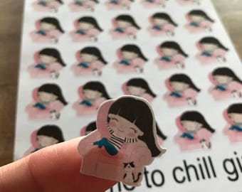 Lazy day / chill day stickers / Cute girl / Functional stickers / Planner accessories / planner supplies / planner decorations / reminder