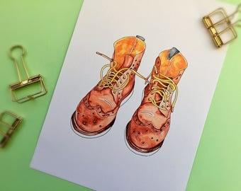 Boots/Grensons- A4/A5/Print/ Watercolour/ Wall Art/ Home Decor/