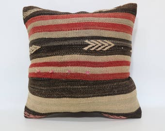 20x20 Turkish Cushion Decorative Kilim Pillow 20x20 Striped Kilim Pillow Home Decor Bed Pillow Sofa Pillow Throw Pillow SP5050-2055
