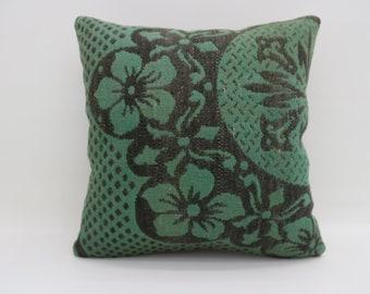 20x20 Kelim Kissen Boho Pillows Rare Turkish Pillows Big Large Cushion Cover Kilim Pillows Green and Black Pillows Throw Pillows SP5050-2700