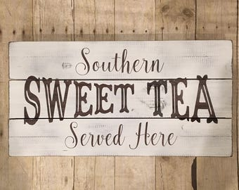 Southern Sweet Tea Served Here pallet wood sign