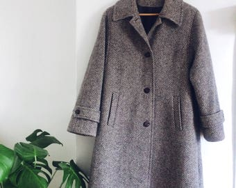 Grey tweed coat | Etsy