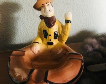 Vintage Cowboy Ceramic Ashtray